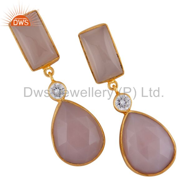 24K Yellow Gold Plated Brass Rose Chalcedony Bezel Set Drop Earrings With CZ