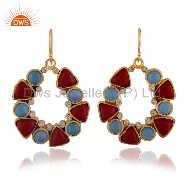 22K Yellow Gold Plated Brass Blue Chalcedony And Coral Dangle Earrings With CZ