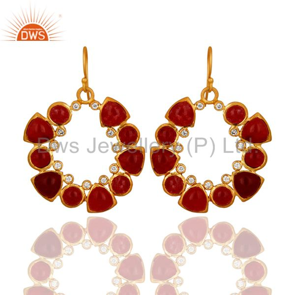 Handmade Red Aventurine And Cubic Zirconia Gold Plated Designer Earrings