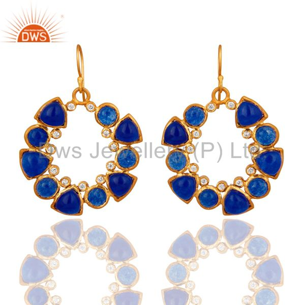 Handmade Natural Blue Aventurine And CZ Designer Earrings - Yellow Gold Plated