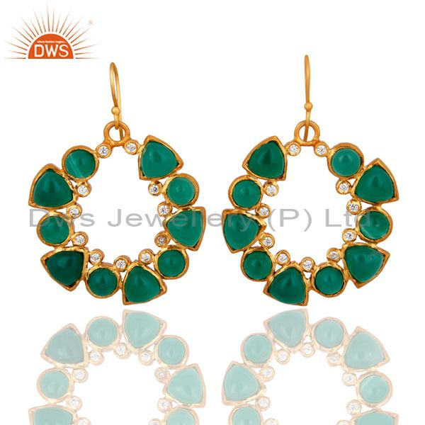 Natural Green Onyx Gemstone 24K Yellow Gold Plated Earrings With CZ
