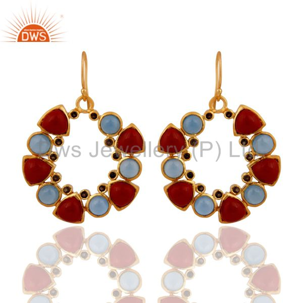 18K Yellow Gold Plated Chalcedony, Red Coral And Smoky Quartz Dangle Earrings