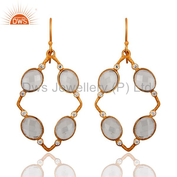 Handmade Crystal Quartz And CZ Designer Yellow Gold Plated Earrings