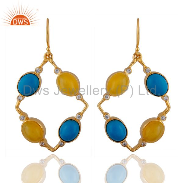 22K Yellow Gold Plated Brass Yellow Moonstone And Turquoise Dangle Earrings