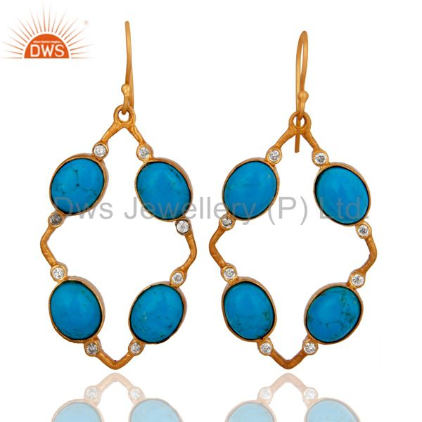 Handmade Matrix Turquoise Gemstone And CZ 18K Gold Plated Earrings