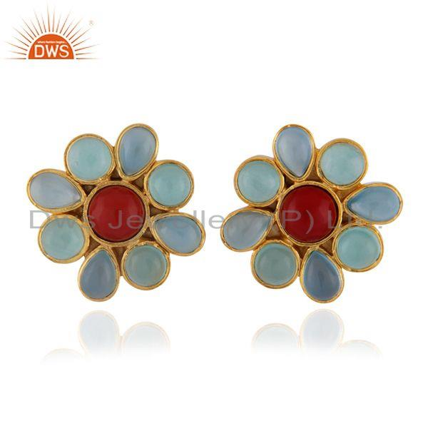 24K Yellow Gold Plated Brass Aqua Chalcedony And Coral Flower Stud Earrings