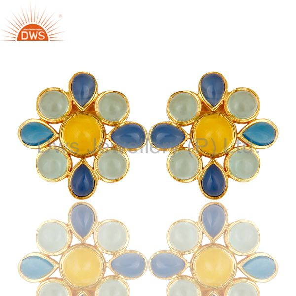 22K Yellow Gold Plated Blue Chalcedony And Moonstone Flower Stud Earrings