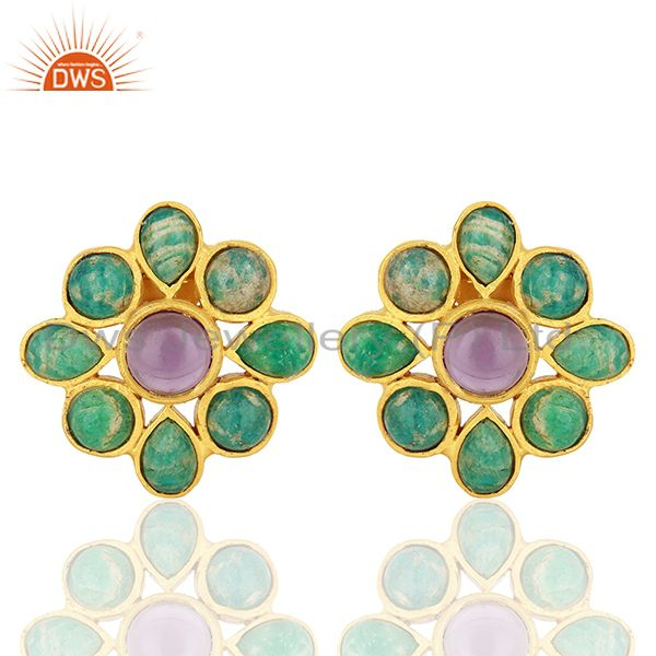 Amazonite Gemstone Gold Plated Brass Fashion Earrings Jewelry Supplier