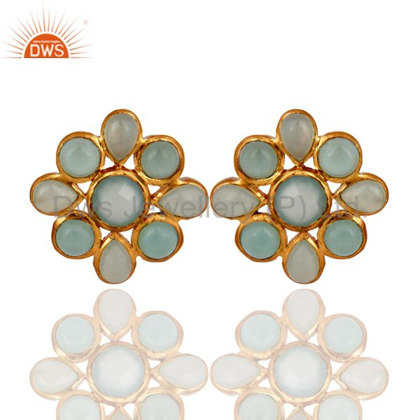 22K Yellow Gold Plated Brass Aqua Chalcedony Glass Womens Flower Stud Earrings