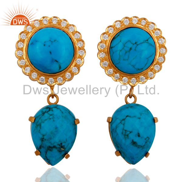 18K Yellow Gold Over Brass Cubic Zirconia And Simulated Turquoise Earrings