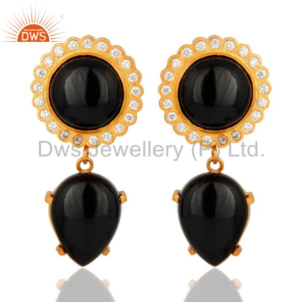 Handmade Black Onyx And White Zircon Dangle Earrings With Yellow Gold Plated