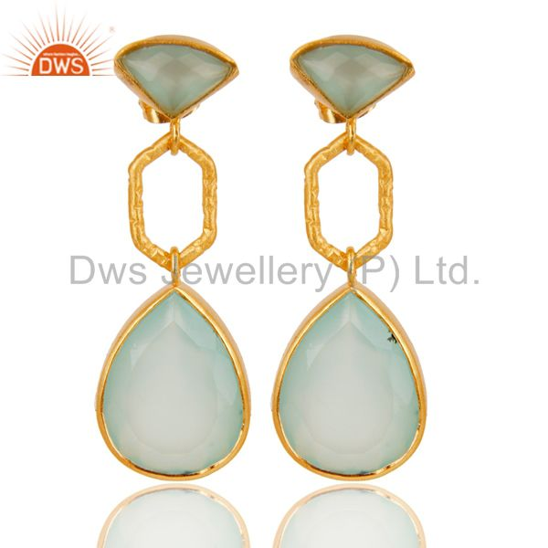22K Yellow Gold Plated Brass Aqua Chalcedony Glass Dangle Earrings