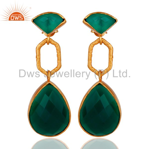 22K Yellow Gold Plated Sterling Silver Green Onyx Gemstone Dangle Earrings