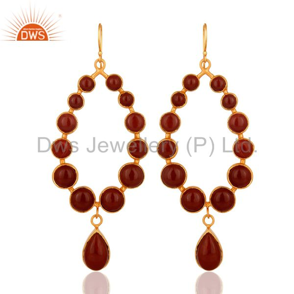 Handmade Red Jasper Gemstone Dangle Earrings Made In 18K Gold On Brass