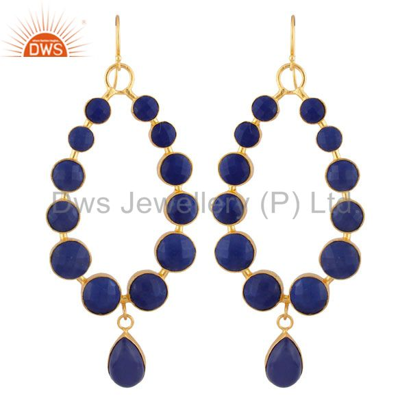 22K Yellow Gold Plated Brass Faceted Lapis Lazuli Gemstone Dangle Earrings