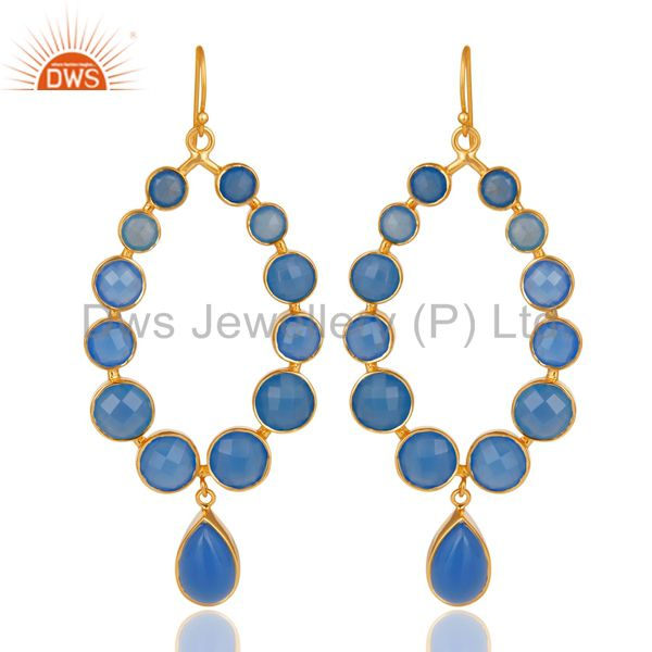 14K Gold Plated 925 Sterling Silver Handmade Dyed Chalcedony Dangle Earrings
