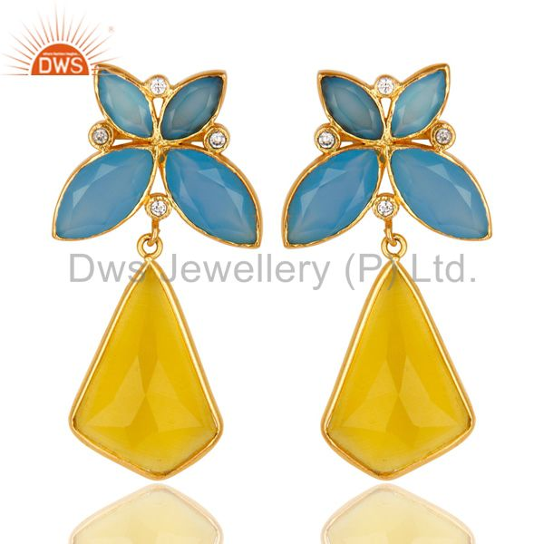 14K Gold Plated Dyed Chalcedony Yellow Moonstone & CZ Dangle Brass Earrings