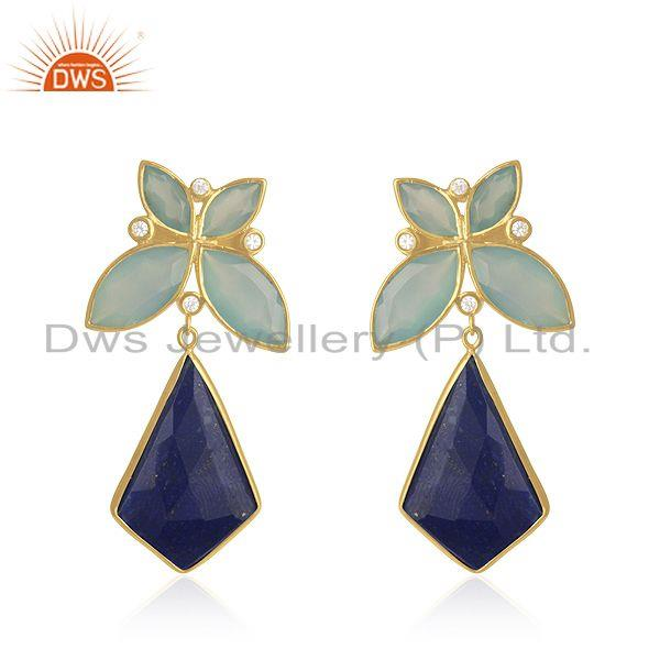 Lapis Lazuli Gemstone 925 Silver Yellow Gold Plated Earrings Manufacturer India