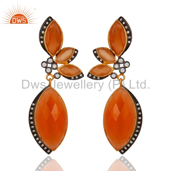 Peach Moonstone And Cubic Zirconia Fashion Earrings In 18K Gold Plated