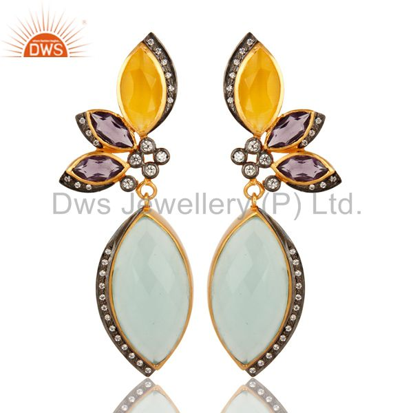 Dyed Aqua Blue Chalcedony & Amethyst 18K Gold Plated Dangle Earrings With CZ