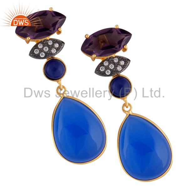24K Yellow Gold Plated Brass Hydro Amethyst And Aqua Chalcedony Drop Earrings