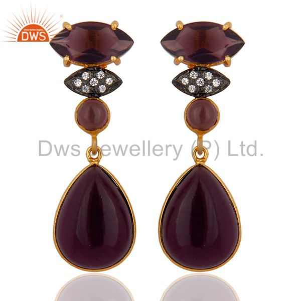 22K Yellow Gold Plated Brass Hydro Amethyst Quartz Fashion Dangle Earrings