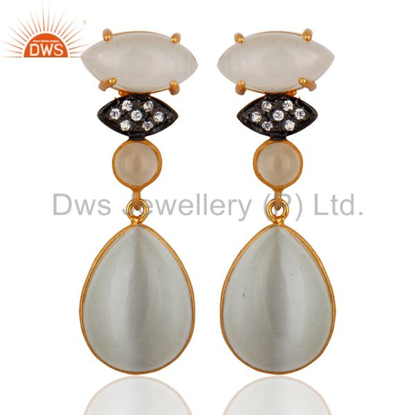 22K Yellow Gold Plated Brass White Moonstone Fashion Dangle Earrings With CZ