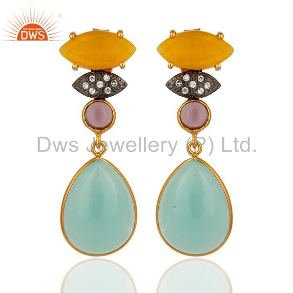 22K Gold Plated Blue Chalcedony And Hydro Amethyst Dangle Earrings With CZ