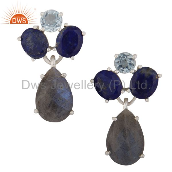 Lapis Lazuli, Blue Topaz And Labradorite Cluster Dangle Earrings In 925 Silver
