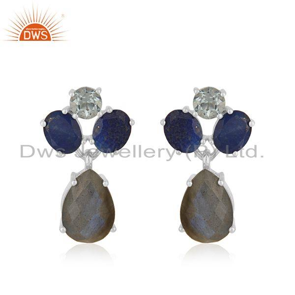 Natural Labradorite Gemstone 925 Sterling Fine Silver Drop Earrings Wholesale
