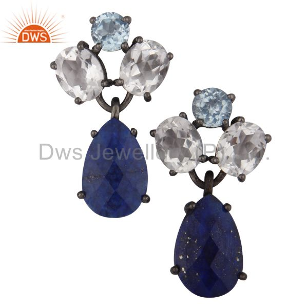 Blue Topaz, Crystal Quartz And Lapis Lazuli Drop Earrings In Oxidized 925 Silver