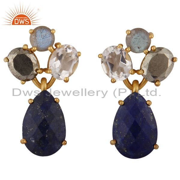 14K Yellow Gold Plated Silver Pyrite, Crystal Quartz & Lapis Lazuli Drop Earring