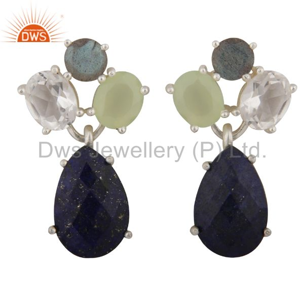 Lapis Lazuli, Crystal Quartz And Labradorite Cluster Drop Earrings In 925 Silver