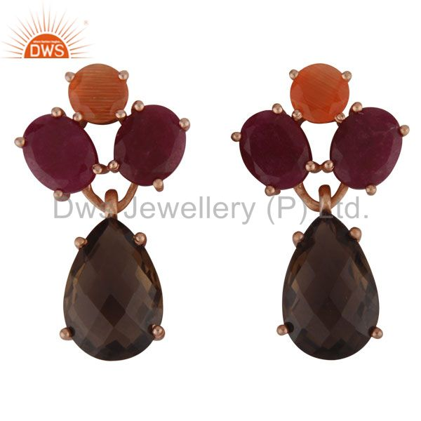 18K Rose Gold Plated Sterling Silver Ruby And Smoky Quartz Cluster Drop Earrings