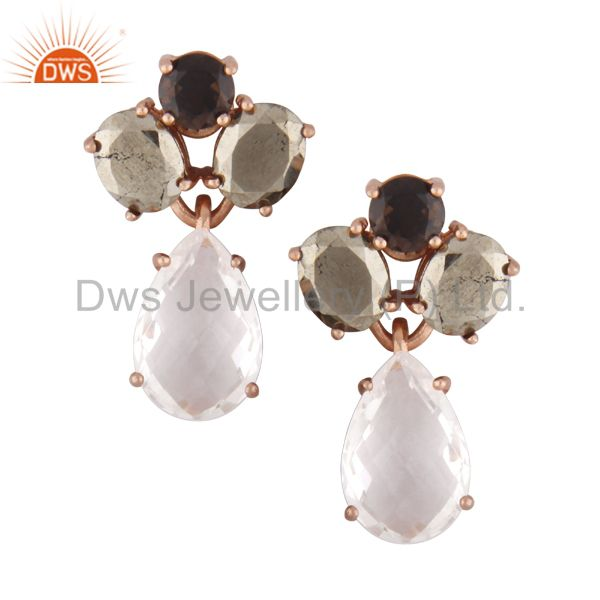 18K Rose Gold Plated 925 Silver Pyrite And Crystal Quartz Cluster Drop Earrings