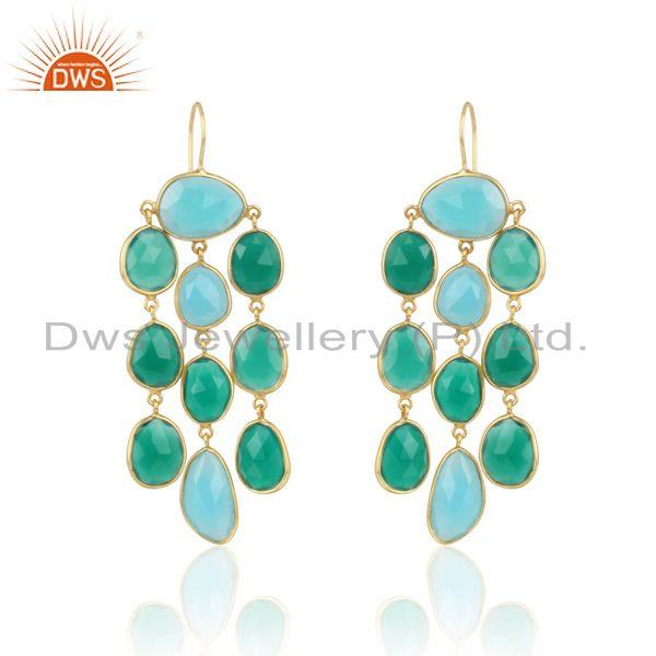 Long Chandelier in Gold on Silver with Aqua Chalcedony Green Onyx