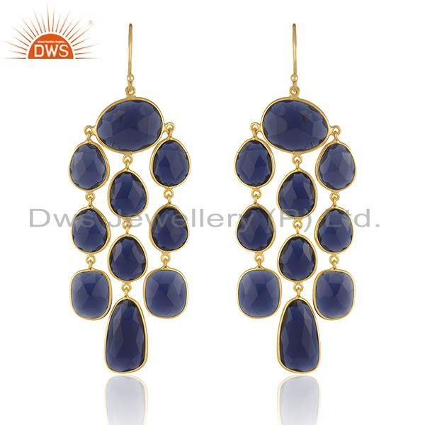 Blue Corundum Gemstone 925 Silver Chandelier Earring Manufacturer
