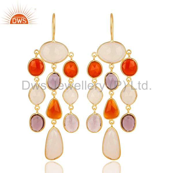 14K Gold Plated Sterling Silver Multi Color Stone Chandelier Earrings Jewelry