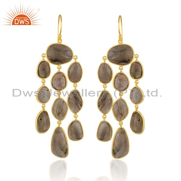 Labradorite Gemstone Gold Plated 925 Silver Chandelier Earrings