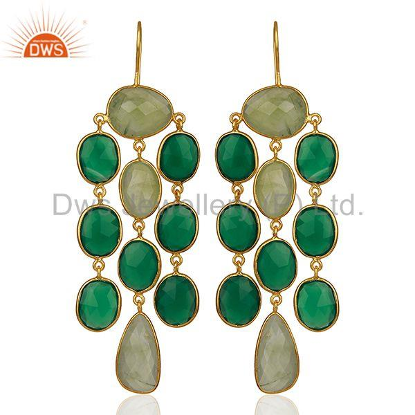 Handmade Bezel Set Multi Gemstone 925 Silver Dangle Earrings Wholesale