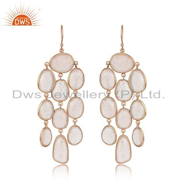 Designer chandelier earring in rose gold on silver with rose quartz