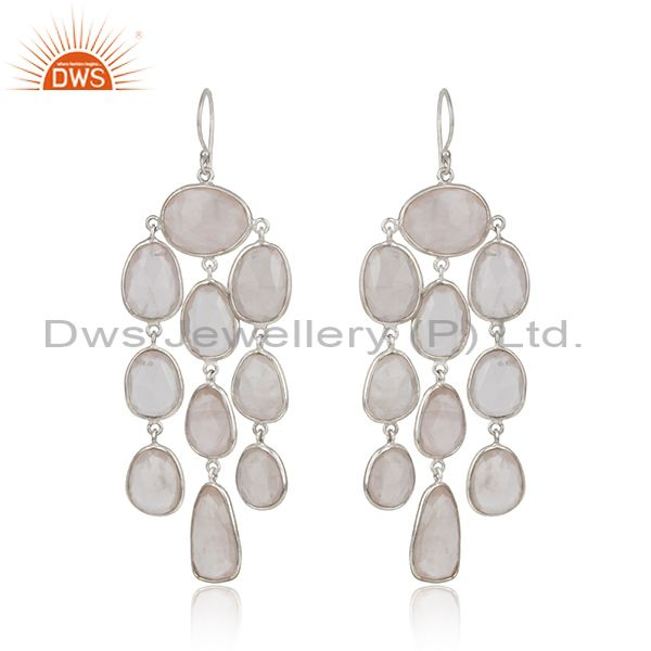 Designer chandelier earring in rhodium on silver with rose quartz