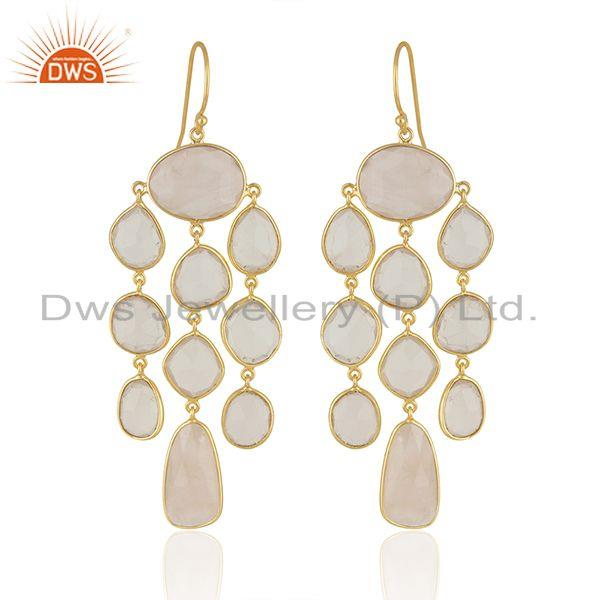 Rose Quartz Stone Gold Plated Sterling Silver Earrings Manufacturers