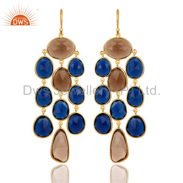 18K Gold Plated Sterling Silver Blue Corundum & Smoky Quartz Chandelier Earrings