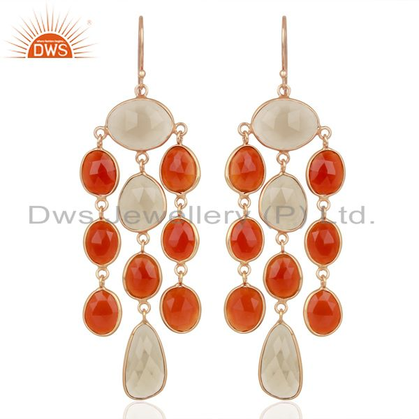 18K Rose Gold Plated Sterling Silver Carnelian Smoky Quartz Chandelier Earrings