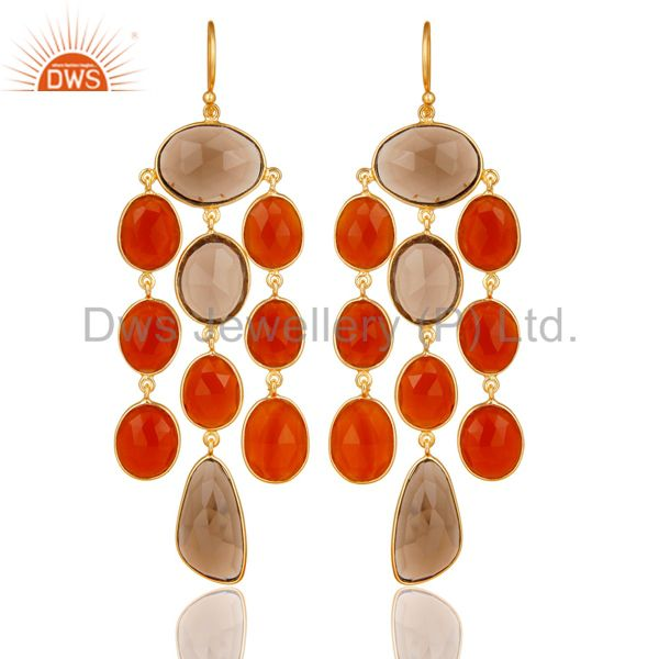 18K Gold Plated Sterling Silver Carnelian And Smoky Quartz Chandelier Earrings