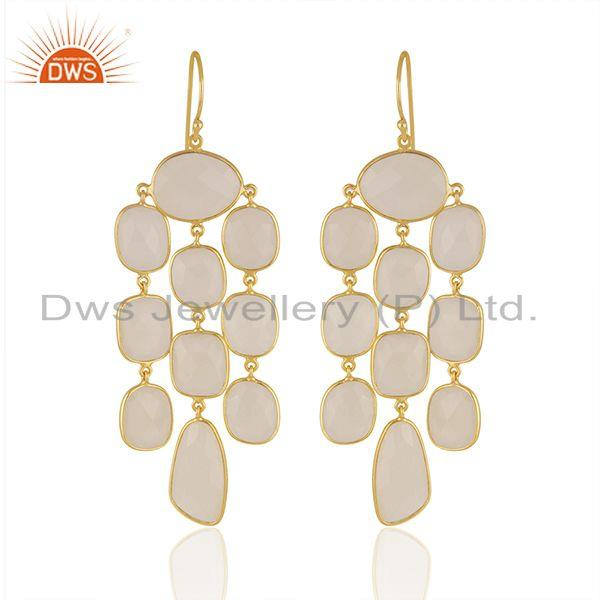 White Chalcedony Gemstone Gold Plated 925 Silver Earrings Manufacturer