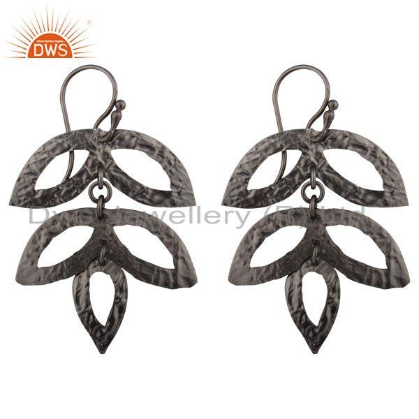 Black Oxidized 925 Sterling Silver Handmade Leaf Design Dangle Earrings Jewelry