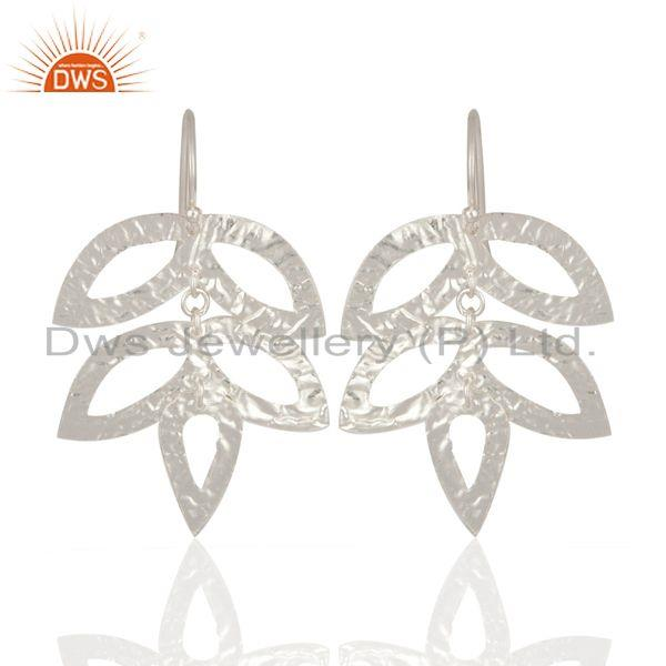 Tree Leaf Handmade 925 Sterling Silver Silver Plated Texture Earrings Jewelry