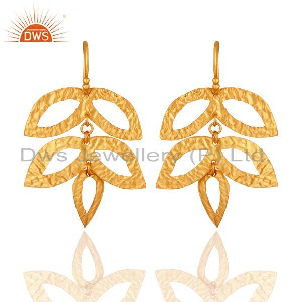14K Yellow Gold Plated 925 Sterling Silver Handmade Leaf Design Earrings Jewelry